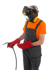 man with welding mask