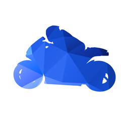Abstract geometrical motorcycle racer