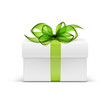 White Square Gift Box with Green Ribbon and Bow - 77846004