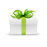 White Square Gift Box with Green Ribbon and Bow