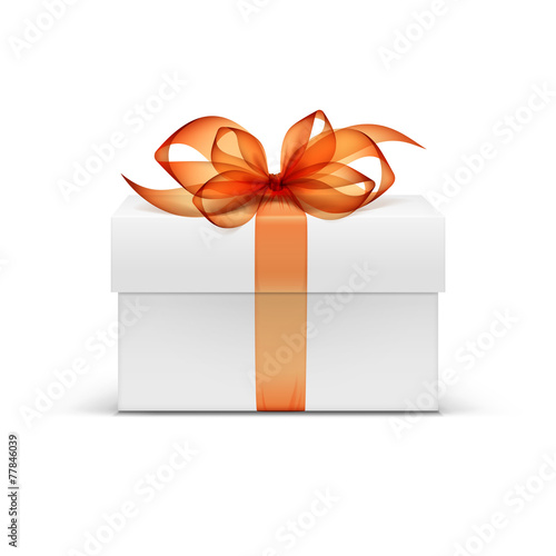 White Square Gift Box with Orange Ribbon and Bow - 77846039