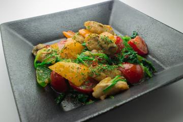 牡蠣のペペロンチーノ炒め