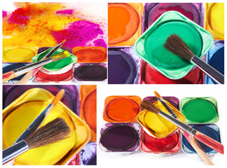 Set of imagens with watercolor paints and  brushes