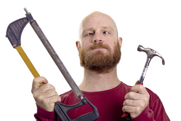 carpenter working holding tools
