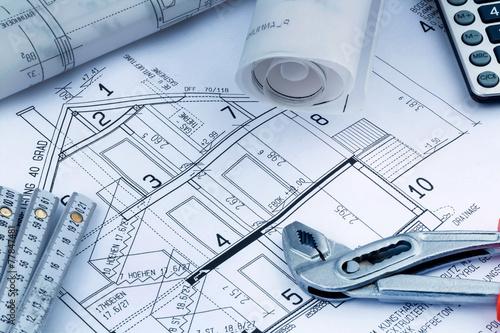 canvas print picture Bauplan für ein Haus