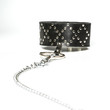 Extra wide leather collar with a metal chain