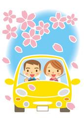 春 ドライブを楽しむカップル