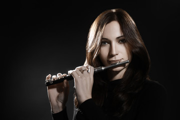 Flute piccolo flutist playing