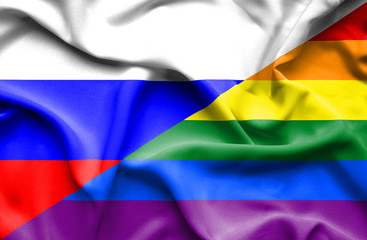 Waving flag of Pride and Russia