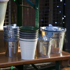 zinc bucket of water standing