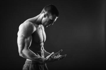 Muscular man bodybuilder