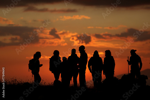 Fotobehang Alpinisme escursione al tramonto