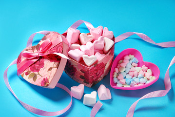 heart shaped marshmallows and candies in gift box