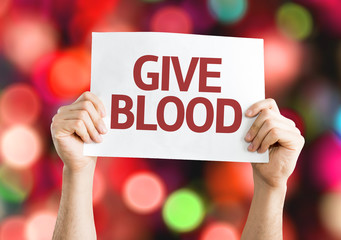 Give Blood card with colorful background