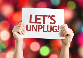 Let's Unplug! card with colorful background