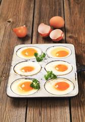 Six fried eggs