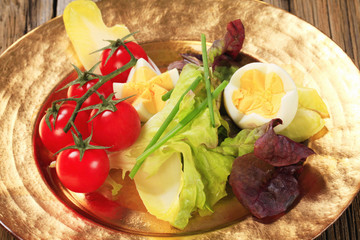 Fresh vegetables and boiled eggs