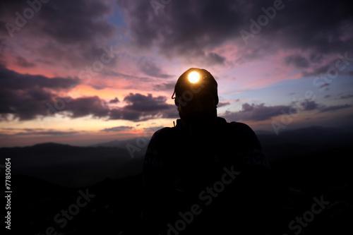 Plexiglas Alpinisme escursione al tramonto