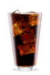 Cola glass with ice cubes isolated on white - 77850270