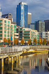 Seattle downtown near waterfront in the late autumn