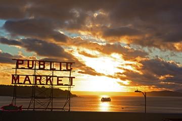 Scenic sunset near Seattle public market.