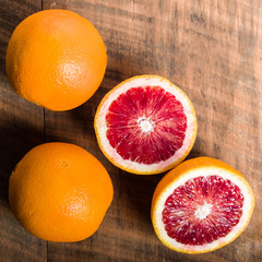 Blood oranges with cut showing interior