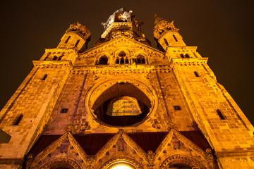 Memorial Kaiser Wilhelm Church at night.