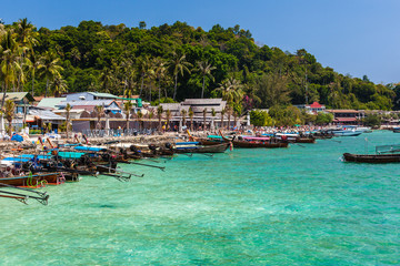 Longtail boats in Phi Phi island