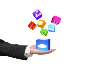 Hand showing cloud box illuminated colorful icons isolated on wh