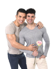 young gay men couple in love on valentines with rose
