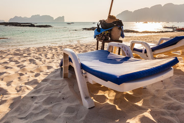 Chaise lounge on the beach