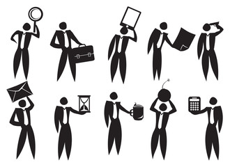 Business man Carrying Big Work Equipment Icon