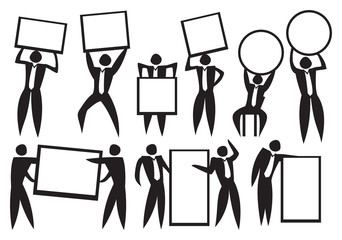 Icon of Business man carrying empty placard