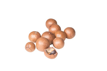 Shelled and unshelled macadamia nuts on white background