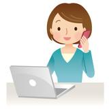 電話する女性 パソコン