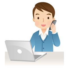 電話する男性 パソコン