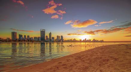 Golden Sunrise View of Perth Skyline