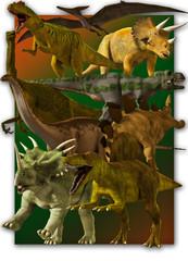 Set of various dinosaure.