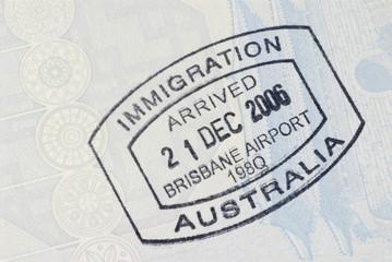 Australian immigration arrival passport stamp