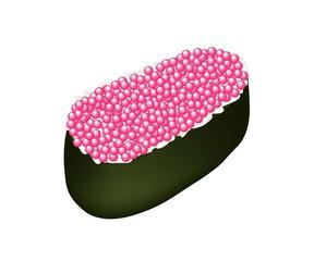 Pink Tobiko Roe Sushi on White Background