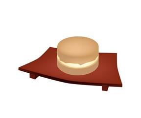 Imagawayaki Red Bean Pancake on Geta Plate