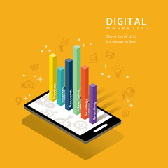 digital marketing media concept with graph on smart phone