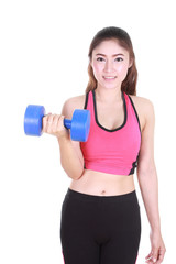 Fitness woman with dumbbell