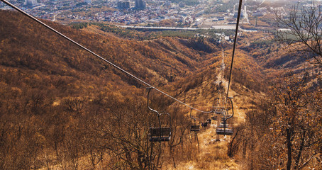 Cableway without people outdoor