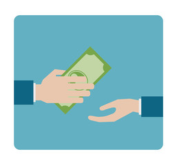 hand gives money flat icon