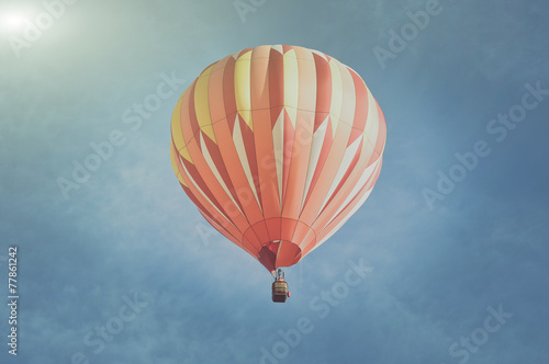 Retro Orange Hot Air Balloon with Sunlight - 77861242