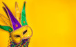 Mardi Gras Mask on yellow Background - 77861690