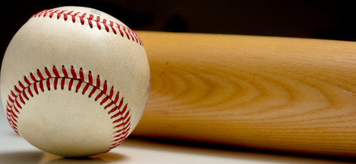 Leather Baseball and wooden Bat
