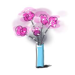 sketch flower vase illustration