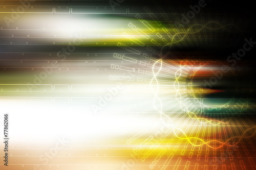Deurstickers Abstract wave light aura motion technology illustration background